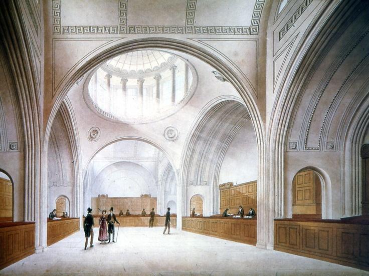 Croquis del interior del banco de Inglaterra, Londres. John Soane (1.792)