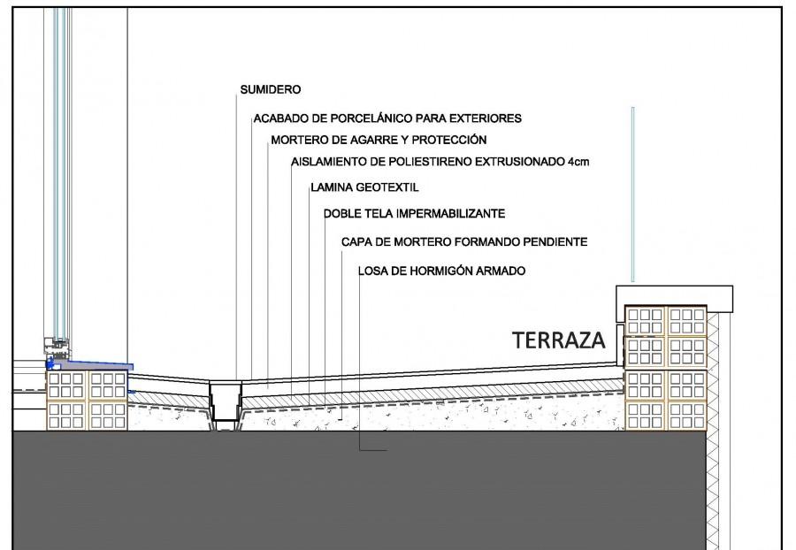 Esquema de cubierta y terraza transitable